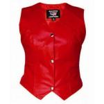 Женский красный кожаный жилет
