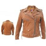 Коричневая женская куртка косуха