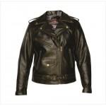 Коричневая женская кожаная куртка косуха в стиле Ретро