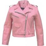 Короткая розовая женская куртка косуха