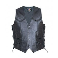 Классический кожаный мужской жилет с плетенкой Spilt Cowhide